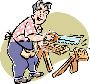 Carpenter Accidentally Sawing Through a Sawhorse